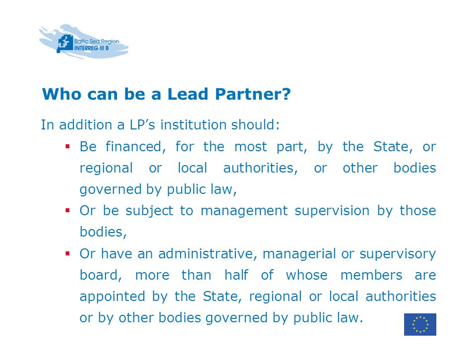 Who can be a Lead Partner