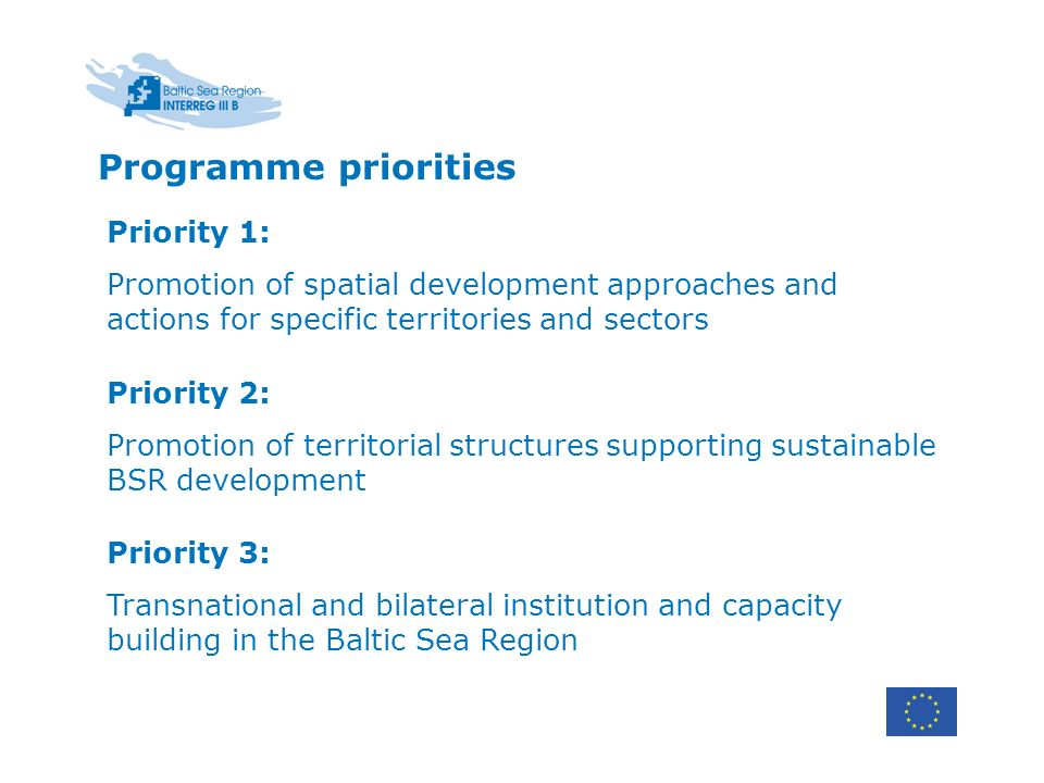 Programme priorities Priority 1: