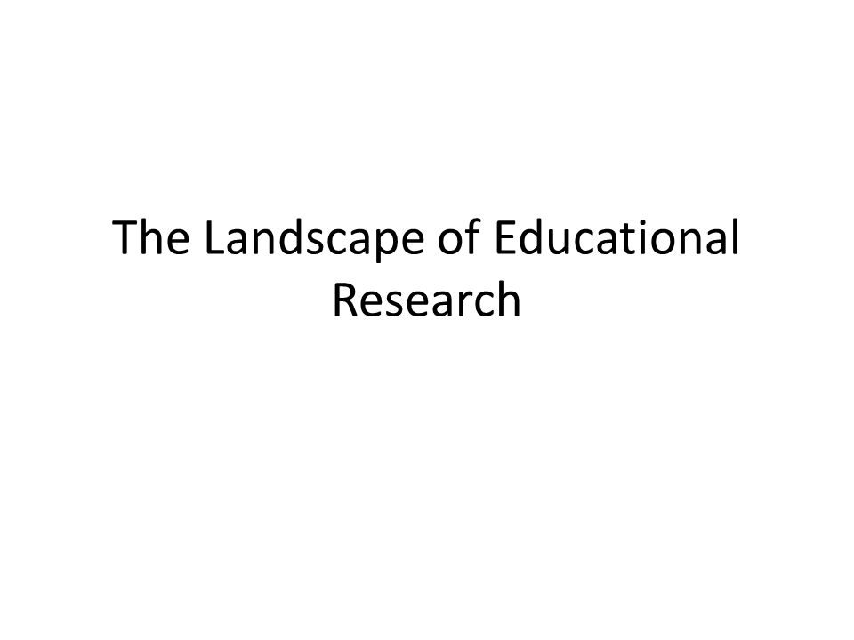 The Landscape of Educational Research