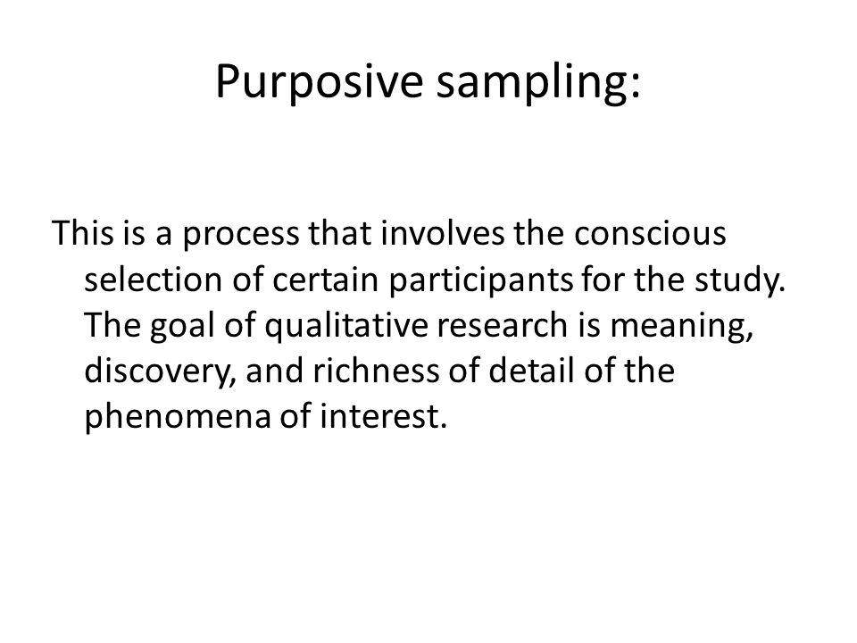 Purposive sampling: