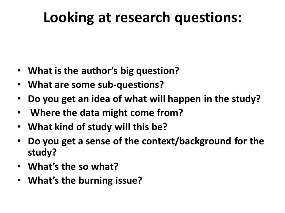 Looking at research questions: