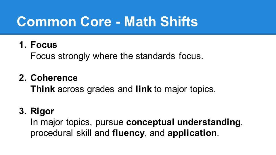Common Core - Math Shifts