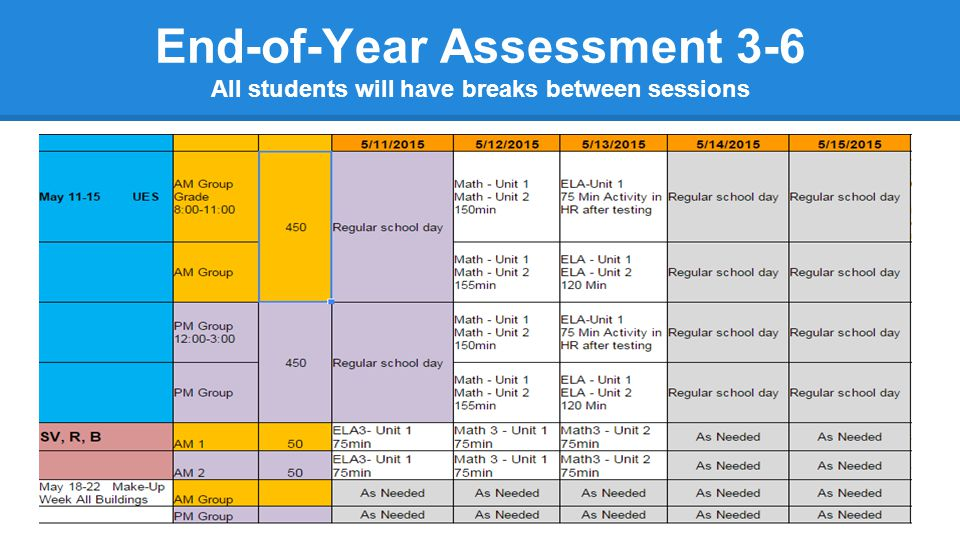 End-of-Year Assessment 3-6 All students will have breaks between sessions