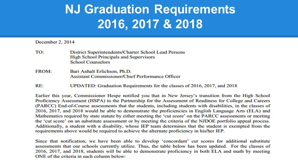 NJ Graduation Requirements 2016, 2017 & 2018