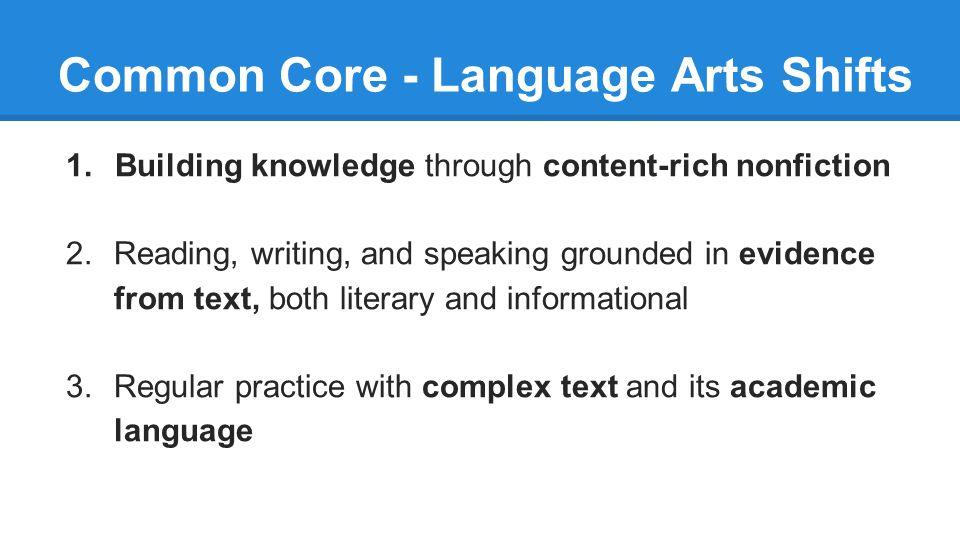 Common Core - Language Arts Shifts