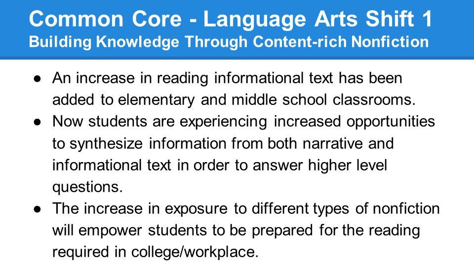 Common Core - Language Arts Shift 1 Building Knowledge Through Content-rich Nonfiction