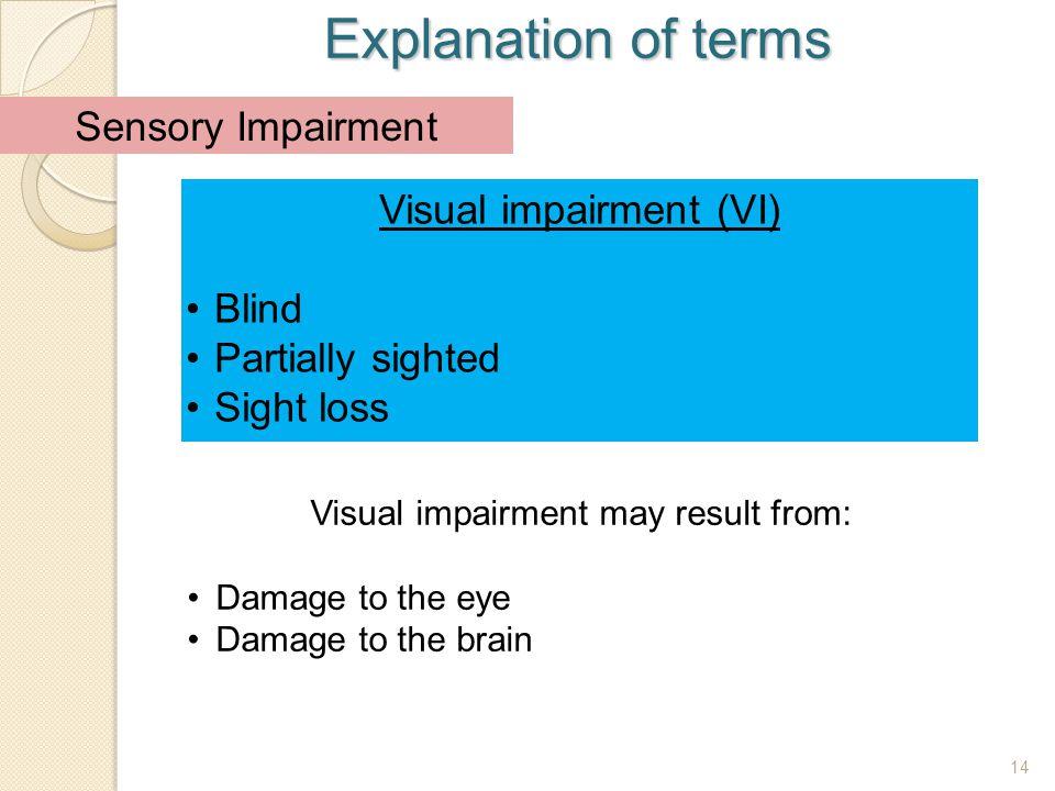Explanation of terms Sensory Impairment Visual impairment (VI) Blind