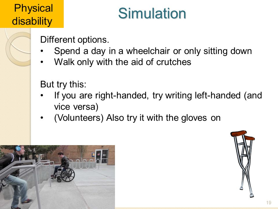 Simulation Physical disability Different options.