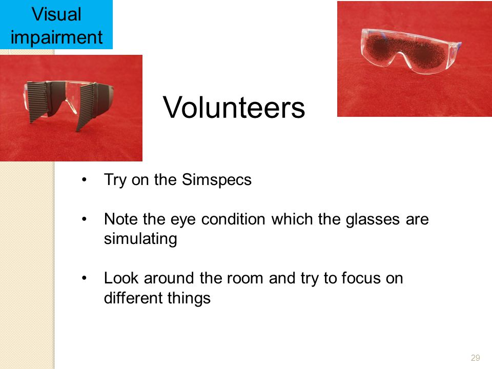 Volunteers Visual impairment Try on the Simspecs