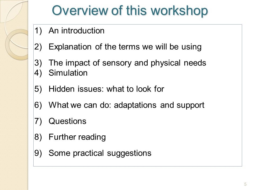Overview of this workshop