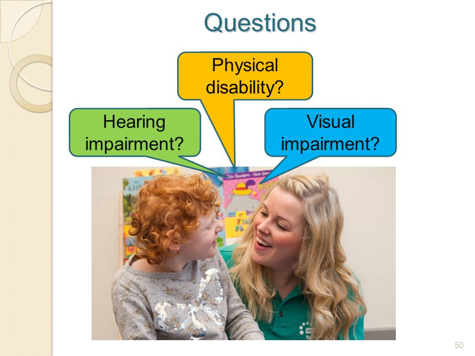 Questions Physical disability Hearing impairment Visual impairment
