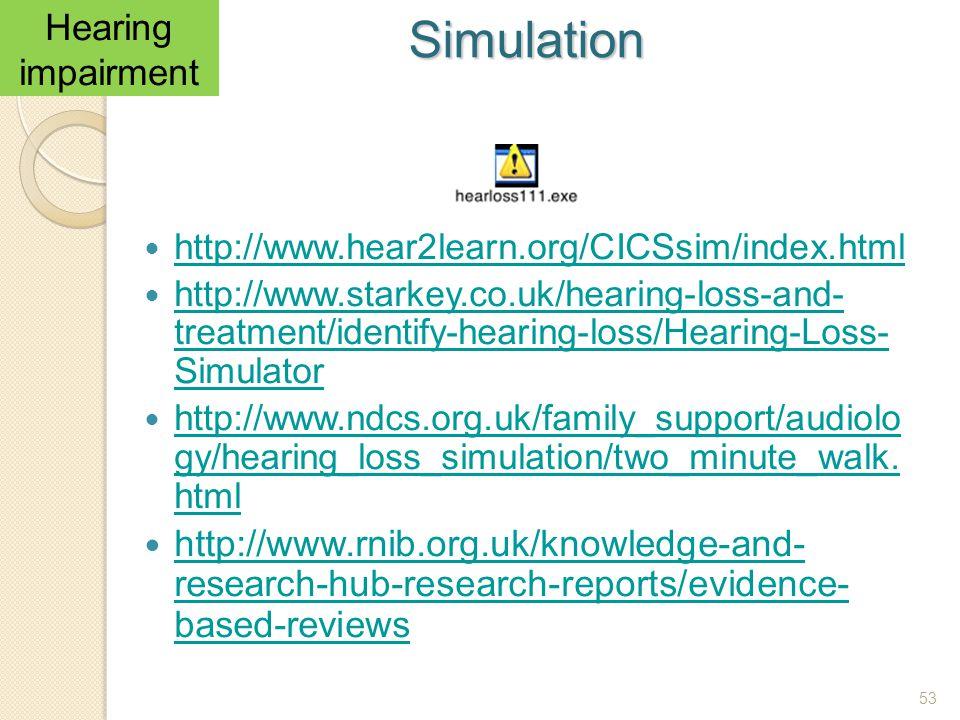 Simulation Hearing impairment