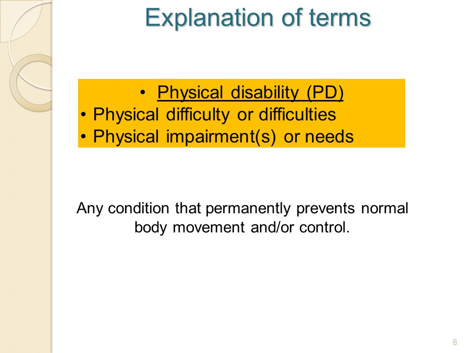 Physical disability (PD)