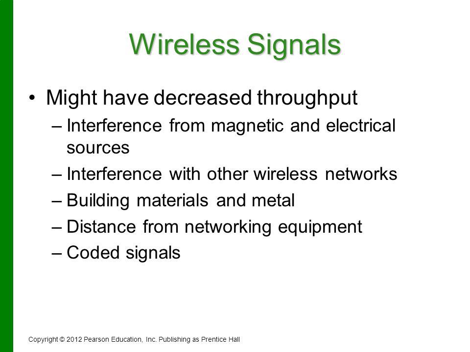 Wireless Signals Might have decreased throughput