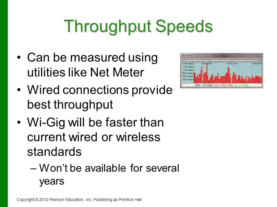 Throughput Speeds Can be measured using utilities like Net Meter