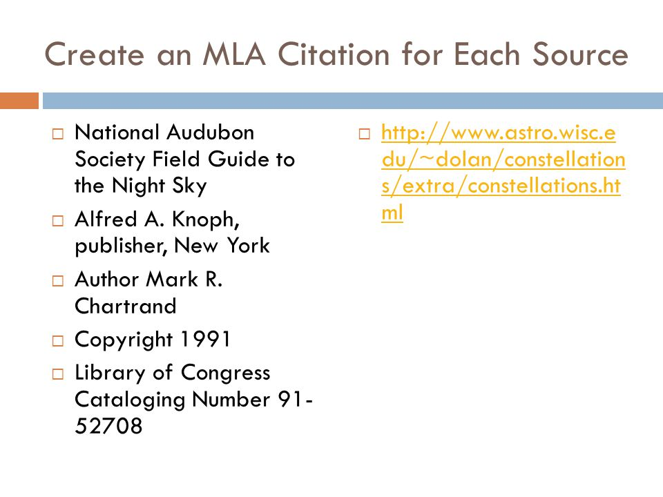 Create an MLA Citation for Each Source