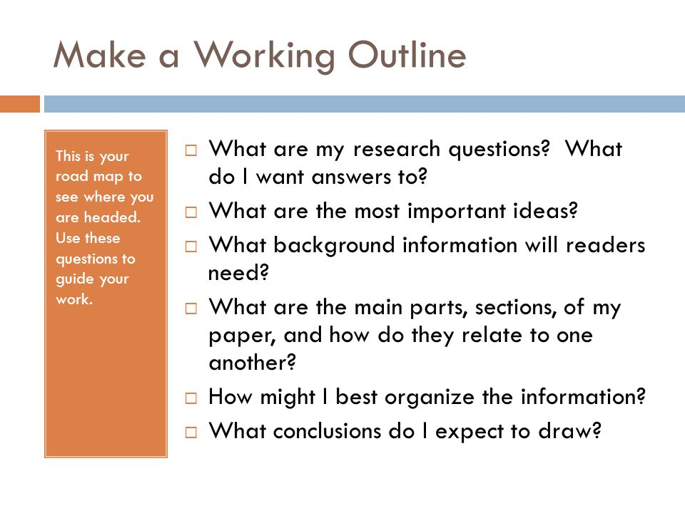 a working outline for a research paper