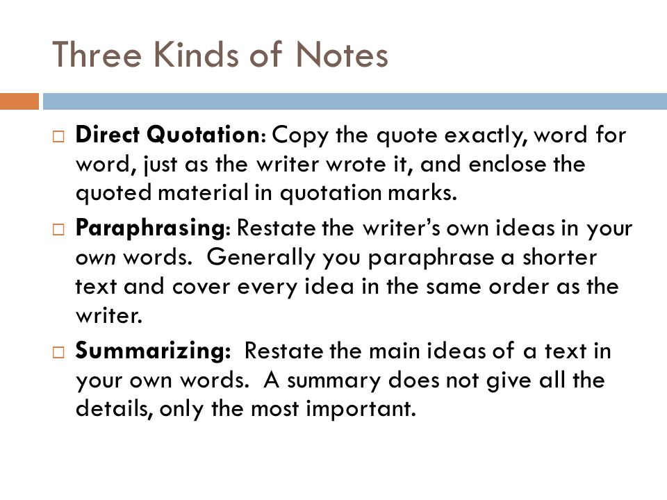 Three Kinds of Notes