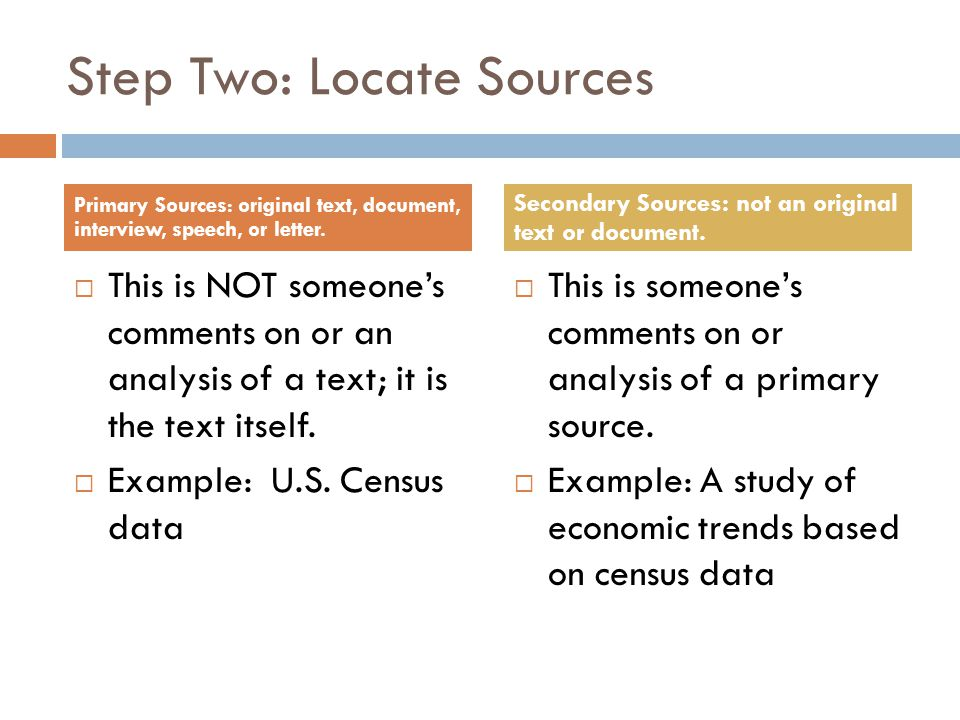 Step Two: Locate Sources