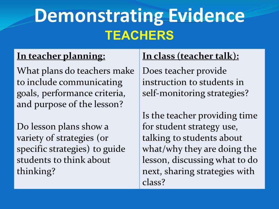 Demonstrating Evidence TEACHERS