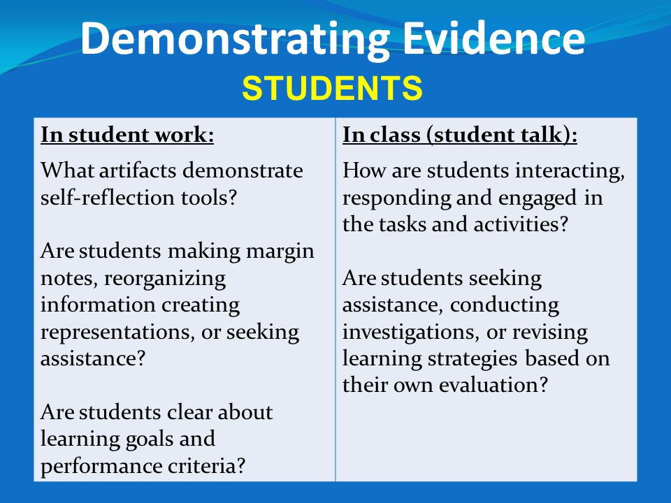 Demonstrating Evidence STUDENTS