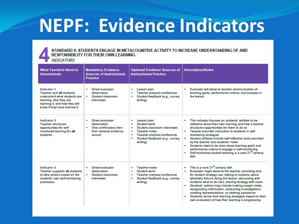 NEPF: Evidence Indicators