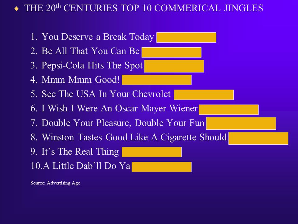 THE 20th CENTURIES TOP 10 COMMERICAL JINGLES