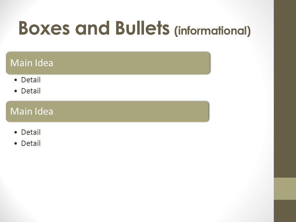 Boxes and Bullets (informational)