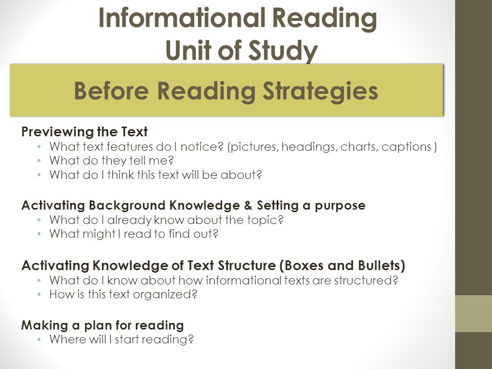 Informational Reading Unit of Study