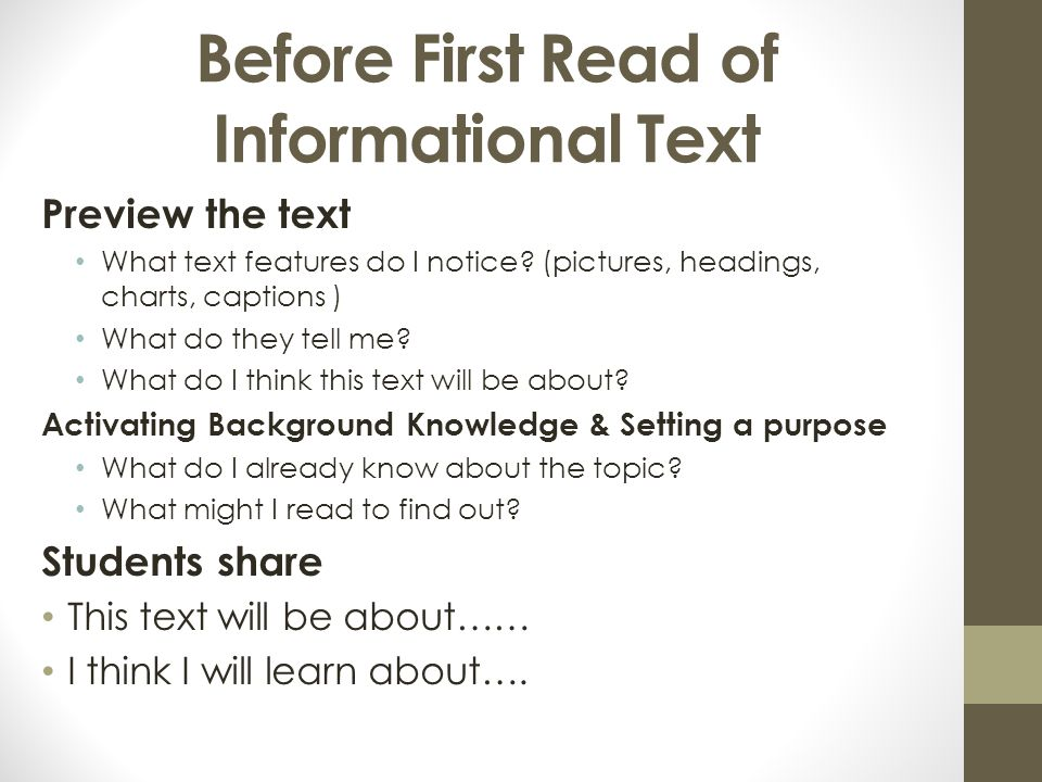 Before First Read of Informational Text