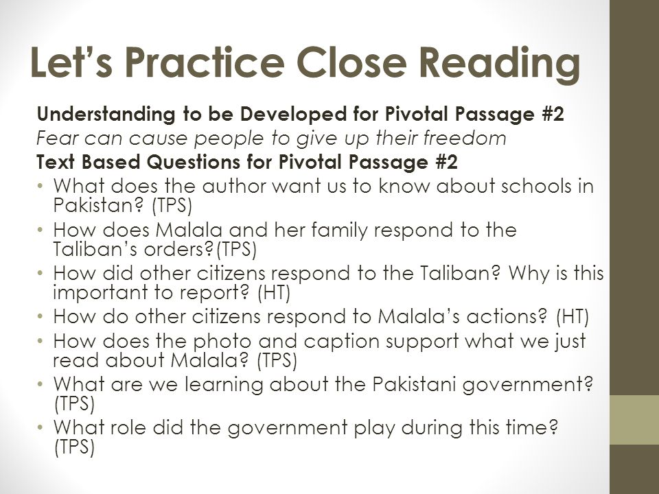 Let's Practice Close Reading