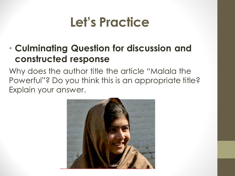 Let's Practice Culminating Question for discussion and constructed response.