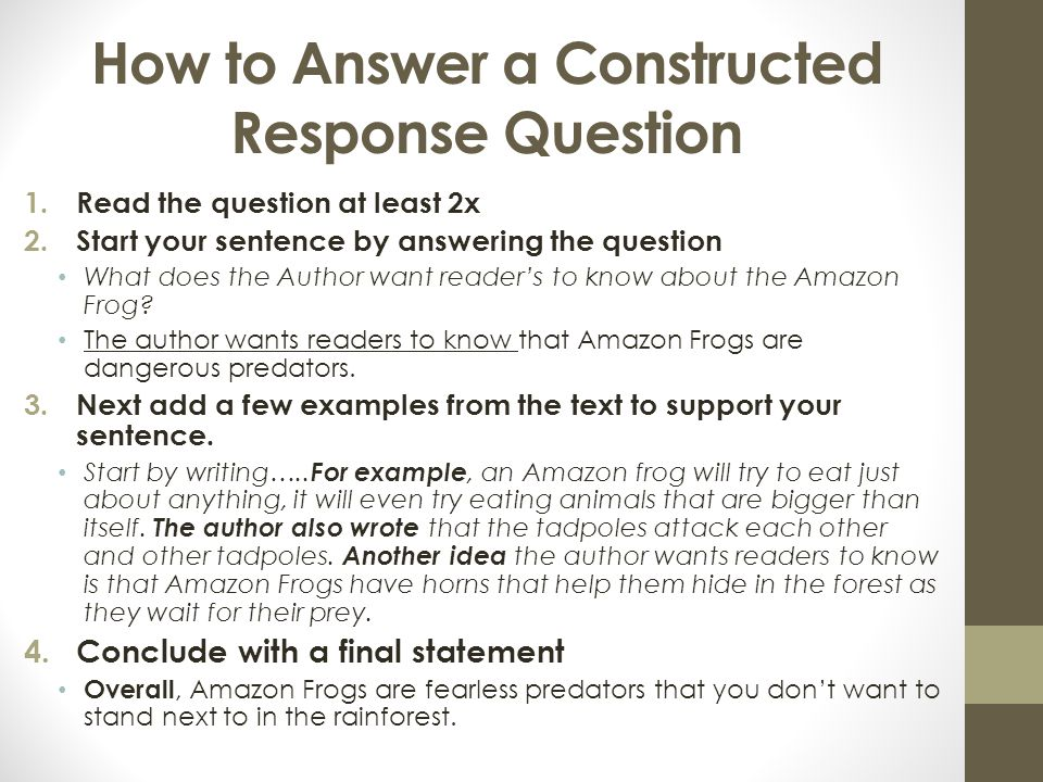 How to Answer a Constructed Response Question