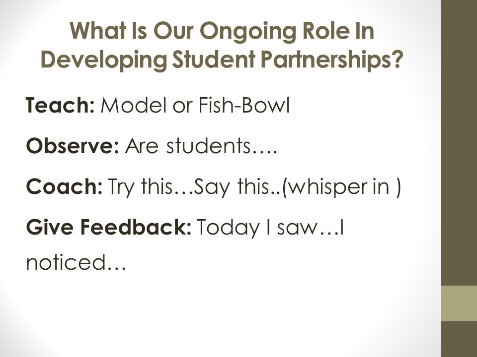What Is Our Ongoing Role In Developing Student Partnerships