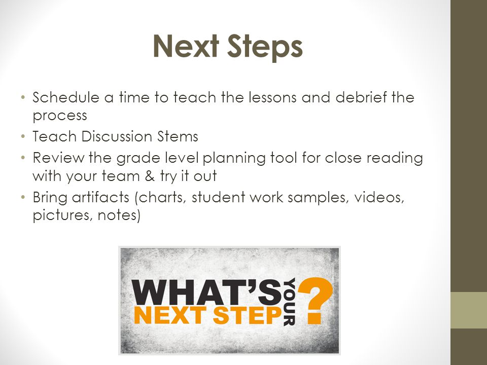 Next Steps Schedule a time to teach the lessons and debrief the process. Teach Discussion Stems.