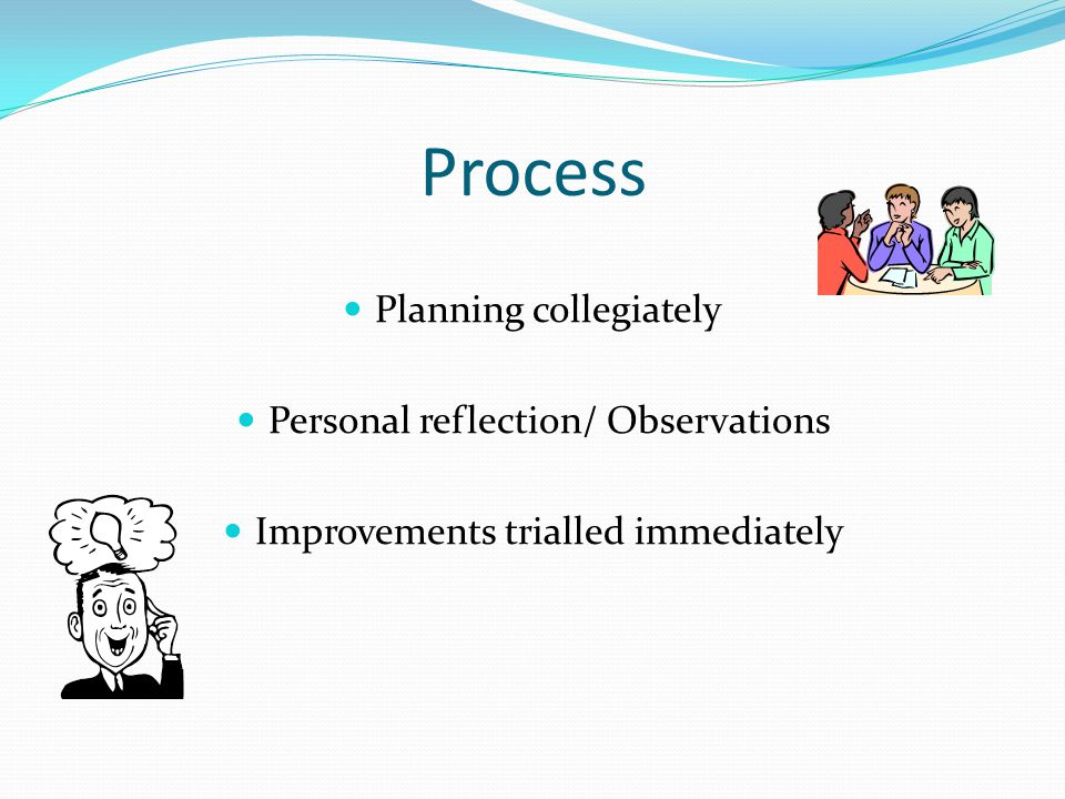 Process Planning collegiately Personal reflection/ Observations
