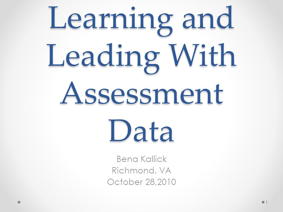 Learning and Leading With Assessment Data