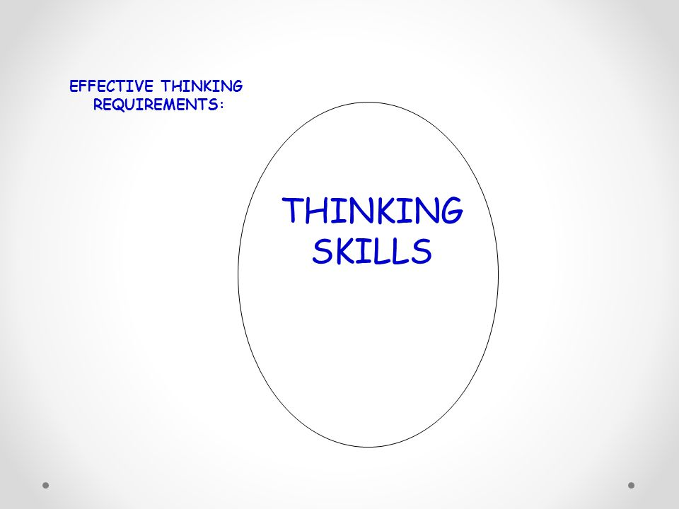 EFFECTIVE THINKING REQUIREMENTS: THINKING SKILLS 11