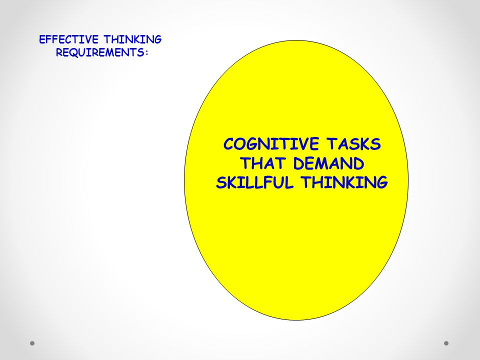 COGNITIVE TASKS THAT DEMAND SKILLFUL THINKING