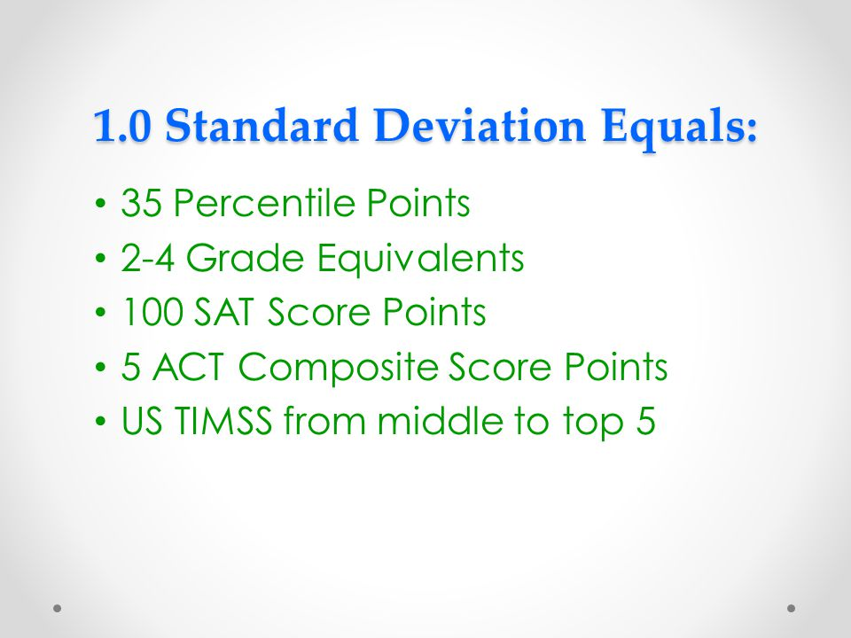 1.0 Standard Deviation Equals: