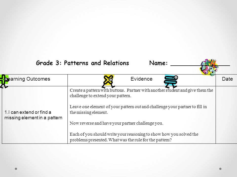 Grade 3: Patterns and Relations Name: ________________