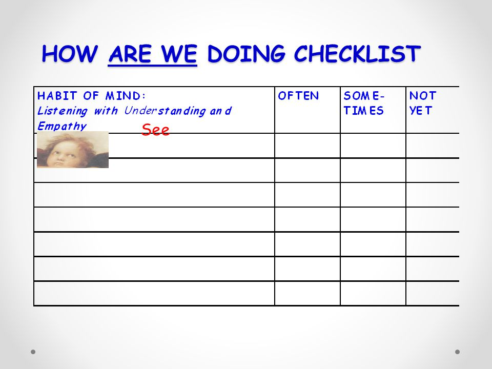 HOW ARE WE DOING CHECKLIST