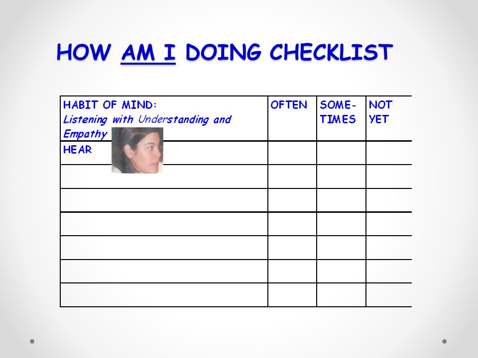 HOW AM I DOING CHECKLIST