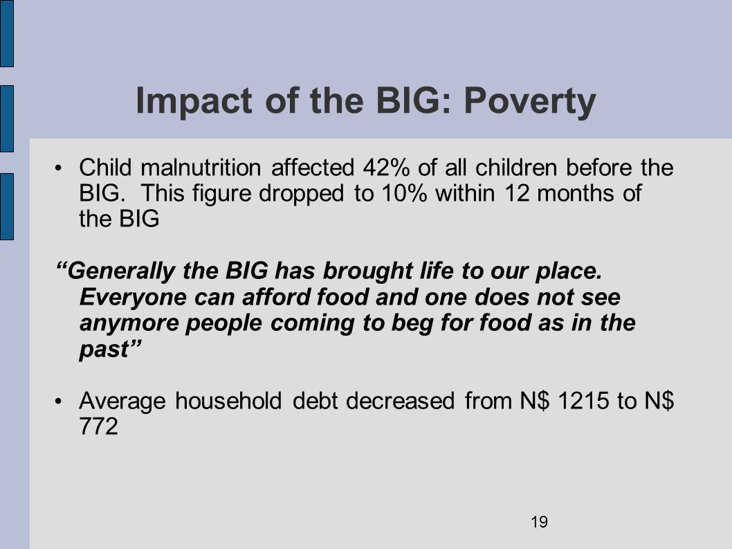 Impact of the BIG: Poverty