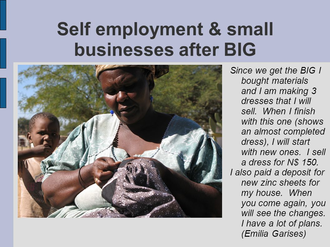 Self employment & small businesses after BIG