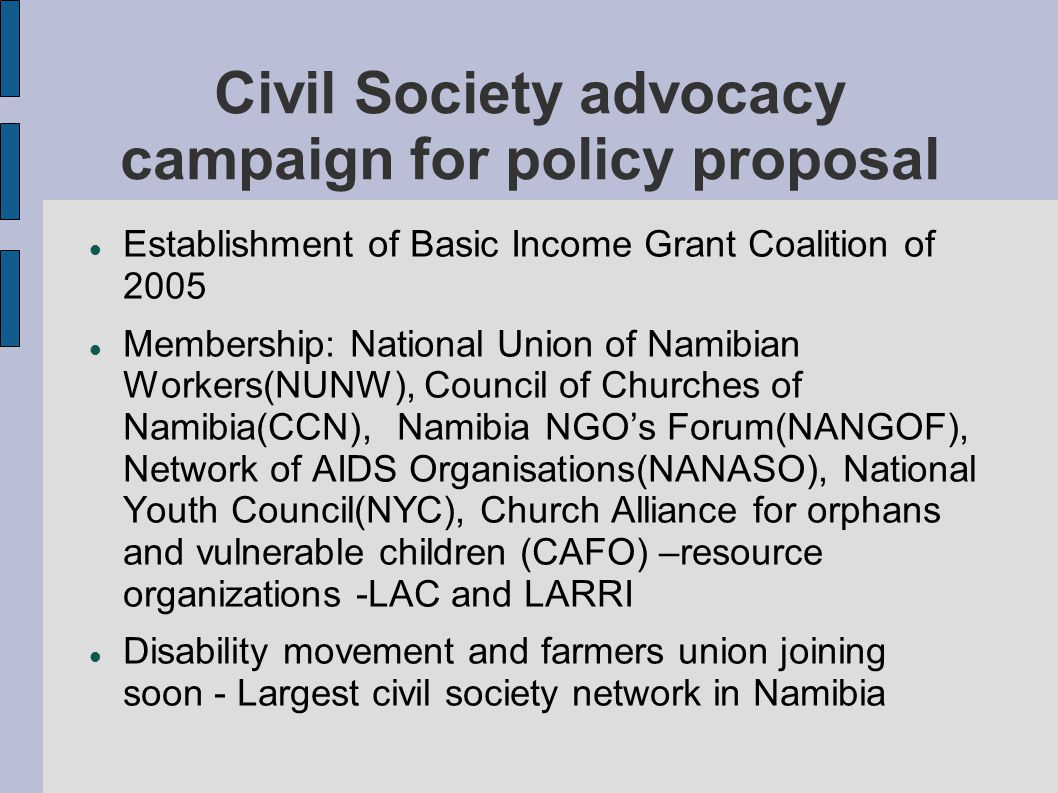 Civil Society advocacy campaign for policy proposal