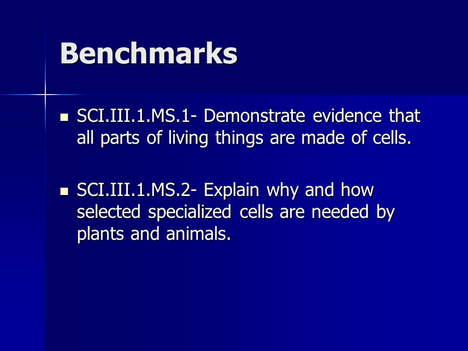 Benchmarks SCI.III.1.MS.1- Demonstrate evidence that all parts of living things are made of cells.