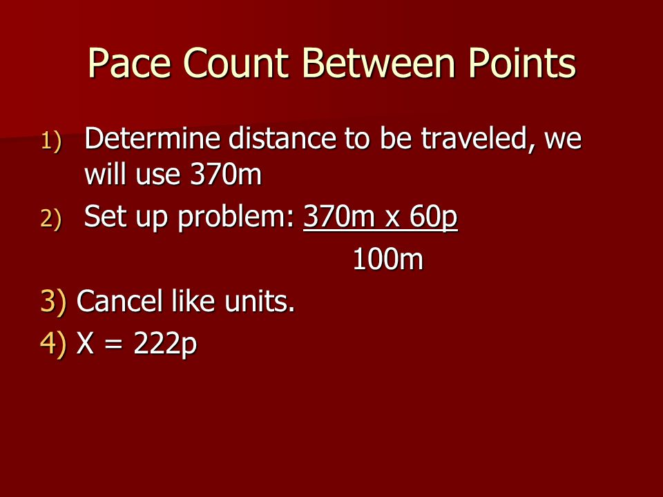 Pace Count Between Points