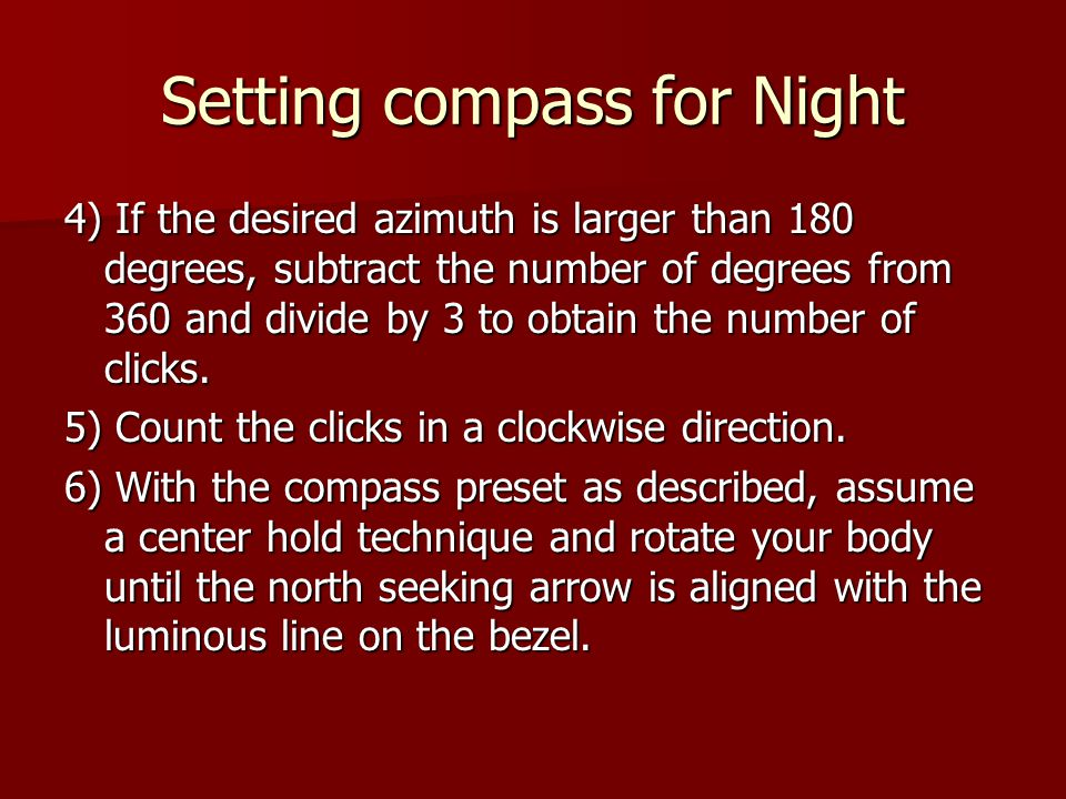 Setting compass for Night