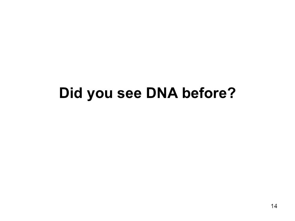Did you see DNA before